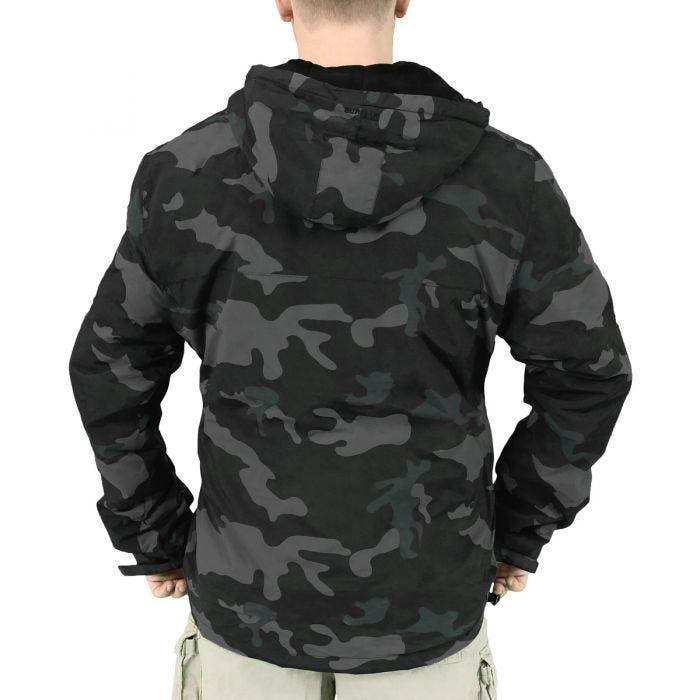 Surplus Windbreaker Jacket with Zipper Black Camo