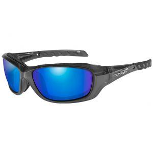 Wiley X WX Gravity Glasses - Polarized Blue Mirror Lens / Black Crystal Frame