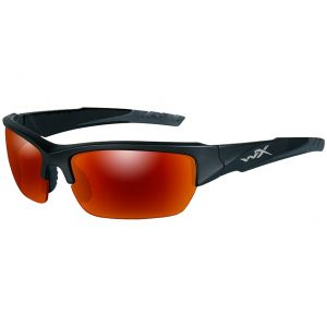 Wiley X WX Valor Glasses - Polarized Crimson Mirror Smoke Grey Lens / Black 2 Tone Frame