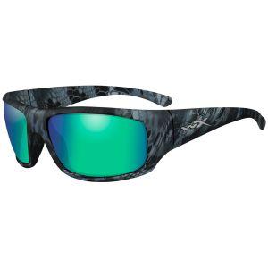 Wiley X WX Omega Glasses - Polarized Emerald Mirror Lens / Kryptek Neptune Frame