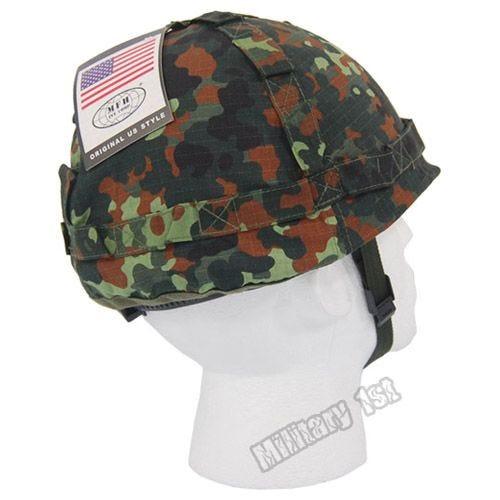 Plastic Helmet with Flecktarn Camo Cloth Cover