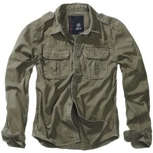 Brandit Vintage Shirt Long Sleeve Olive
