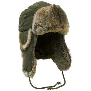 MFH Winter Cap Olive with Brown Rabbit Fur